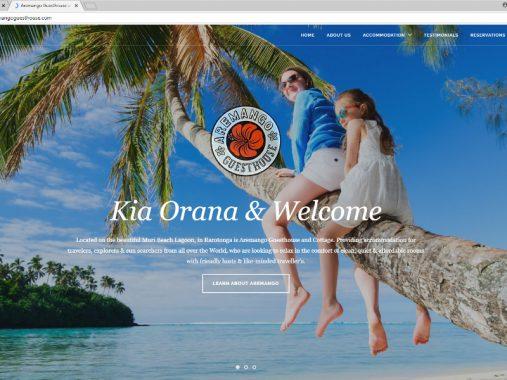 Aremango Guesthouse website design - Rarotonga