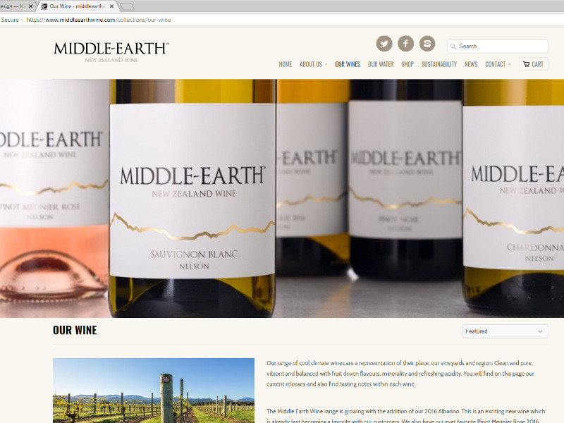 Middle Earth Wine shopify store design - Brightwater